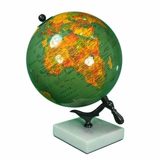 Sophisticated Enamel Globe With Marble Base, Multicolor