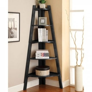 High And Spacey Stylish Ladder Shelf, Black