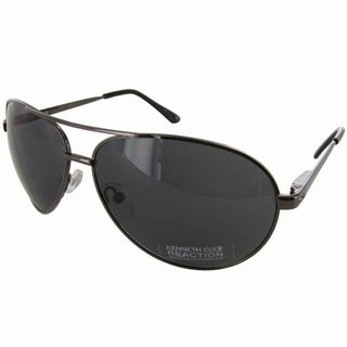 Kenneth Cole Reaction 'KC1184' Mens Aviator Sunglasses, Gunmetal/Smoke