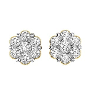 3/4 cttw Round Diamond Ladies Round Shaped Cluster Stud Flower Earrings 14K Yellow Gold