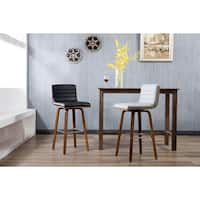 Porthos Home Bar/Counter Stools, PU Leather Upholstery & Wooden Legs