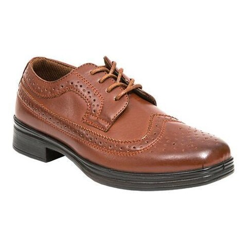 Boys' Deer Stags Ace Wing Tip Oxford Dark Maple Simulated Leather