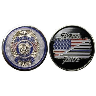 Police Officer Badge St Michael Protect Us Bleed Blue Flag Good Luck Double Sided Collectible Coin