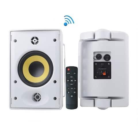 Pyle PODWIFIB64 Waterproof Rated Indoor Outdoor Wall Mount Speakers with Built in Bluetooth