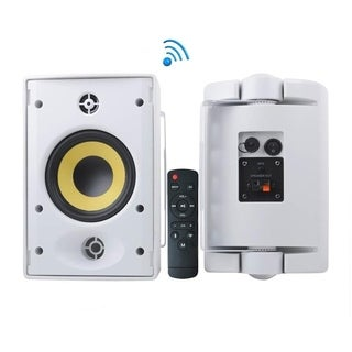 Pyle PODWIFIB64 Waterproof Rated Indoor Outdoor Wall Mount Speakers with Built in Bluetooth