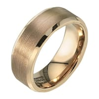Mens 8mm Yellow Tungsten Band with Satin Finish