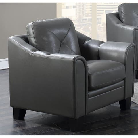 Asheville Grey Leather Arm Chair