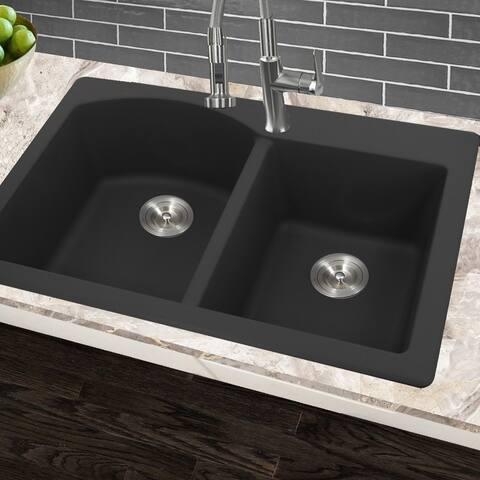 Highpoint Collection 60/40 Topmount Granite Composite Black Sink