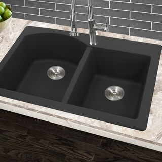 Highpoint Collection 60/40 Topmount Granite Composite Black Sink