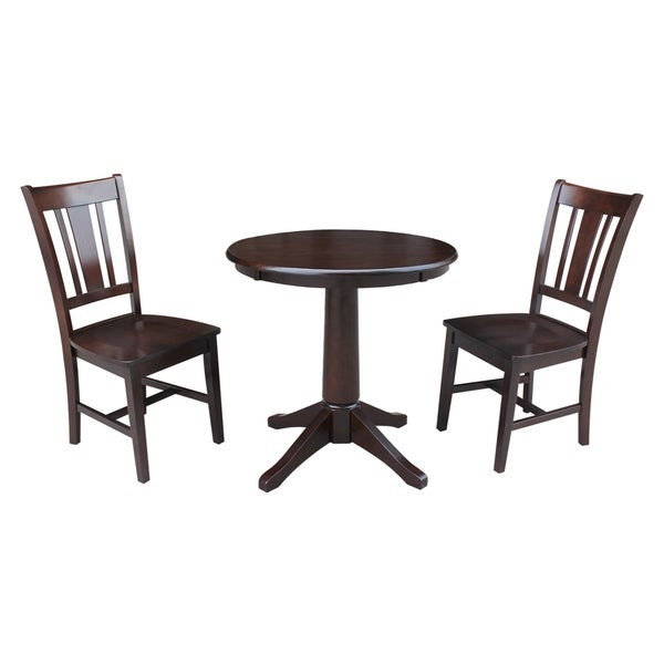 "Black And Cherry Round Table And Two Dinette Chair 3 Piece: Shop 30"" Round Pedestal Dining Table With 2 San Remo"