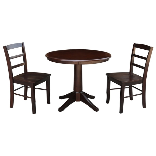 36 Round Pedestal Dining Table With 2 Madrid Chairs Mocha 3 Piece Set