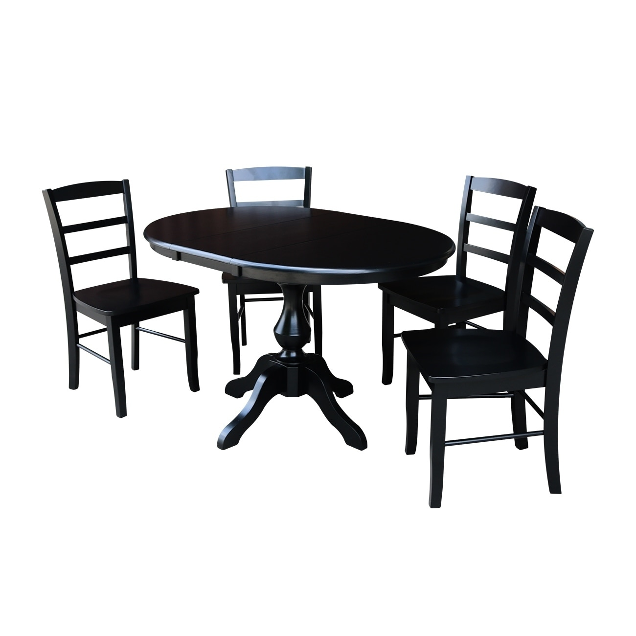 """Black Round Dining Table Set: 36"""" Round Dining Table With 12"""" Leaf And 4 Madrid Chairs"""