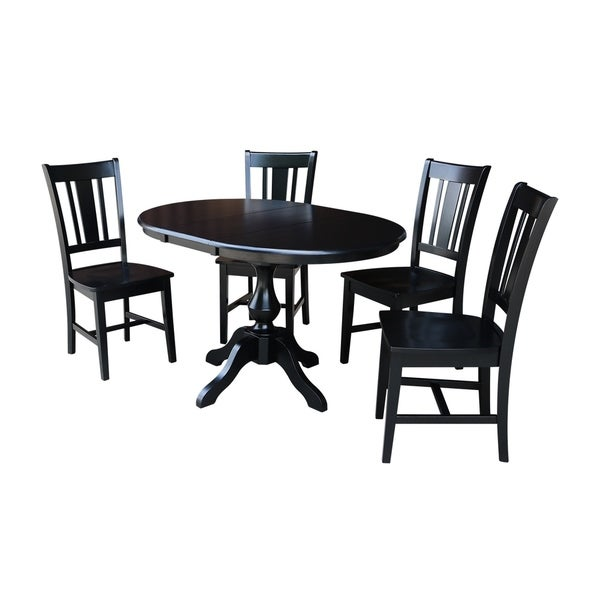 """Round Dining Room Table Seats 12: Shop 36"""" Round Dining Table With 12"""" Leaf And 4 San Remo"""