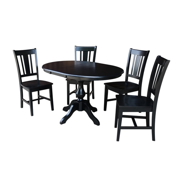 "Large Round Dining Table Seats 12: Shop 36"" Round Dining Table With 12"" Leaf And 4 San Remo"