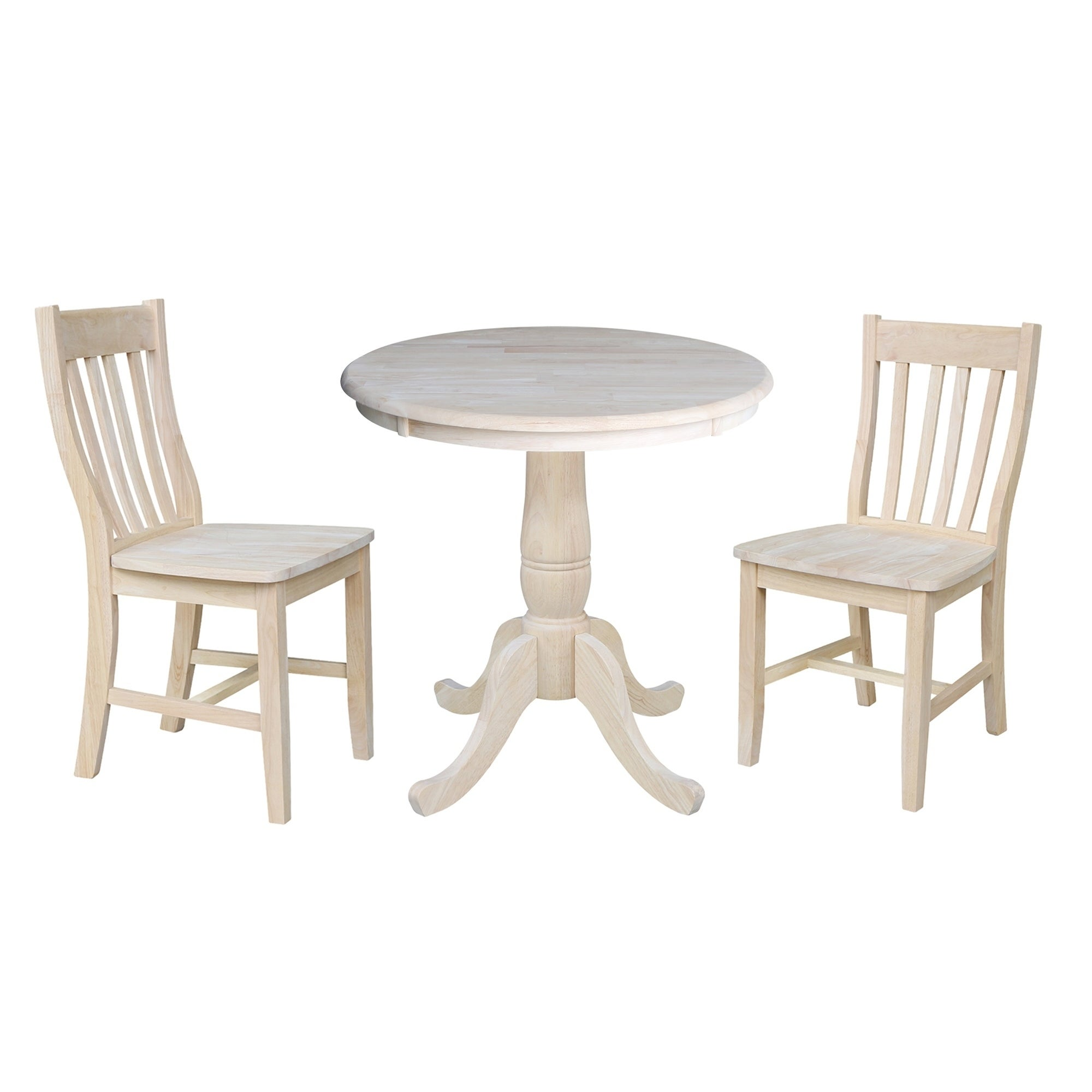 30 Round Pedestal Dining Table With 2 Cafe Chairs Unfinished 3 Piece Set Product Description For Those Who Reciate High Quality Wood Furniture