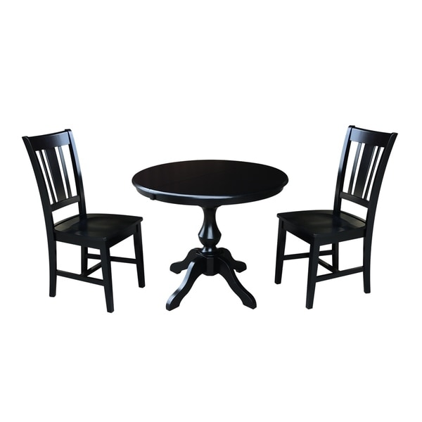 """36 Dining Table Set: Shop 36"""" Round Dining Table With 12"""" Leaf And 2 San Remo"""