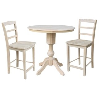 "36"" Round Top Pedestal Counter Height Table with 2 Madrid Stools - Unfinished - 3 Piece Set"