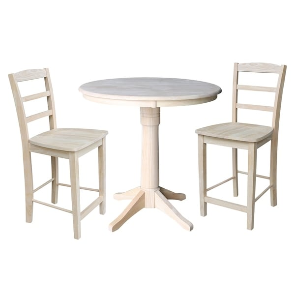 "Counter Tables And Stools: Shop 36"" Round Pedestal Counter Height Table With 2 Madrid"