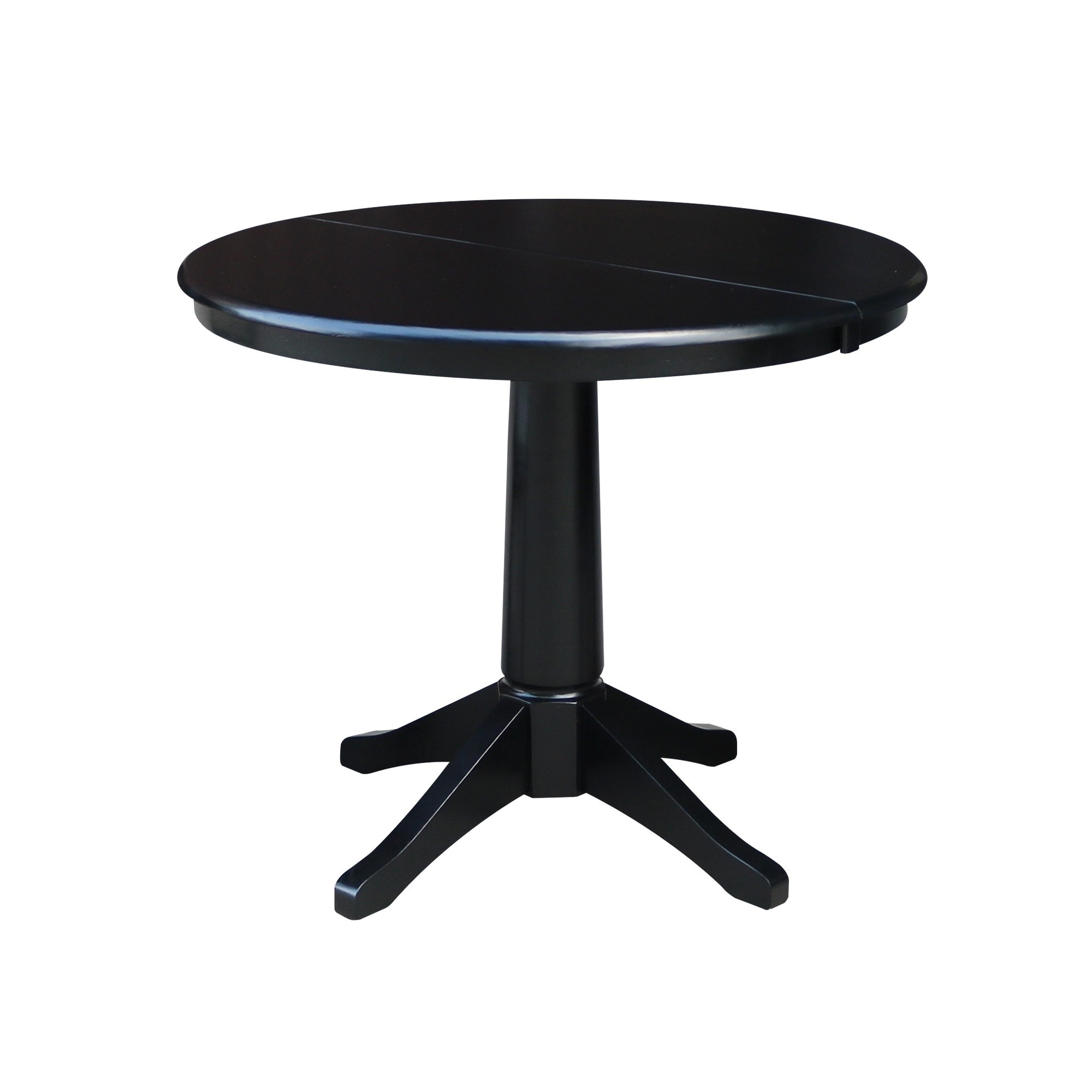 36 Round Top Dining Table With 12 Leaf Black Overstock 21800779