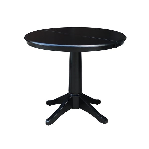 Black Dining Table With Leaf: Shop Round Black Wood Leaf-extension Dining Table