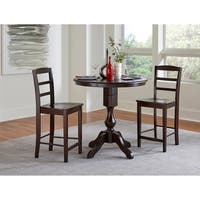 """36"""" Round Pedestal Counter Height Table with 2 Madrid Stools - Mocha - 3 Piece Set"""