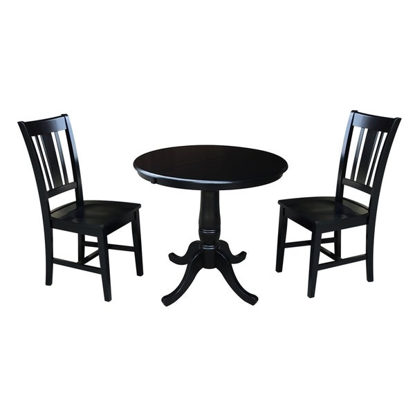 "Black And Cherry Round Table And Two Dinette Chair 3 Piece: Shop 36"" Round Dining Table With 12"" Leaf And 2 San Remo"