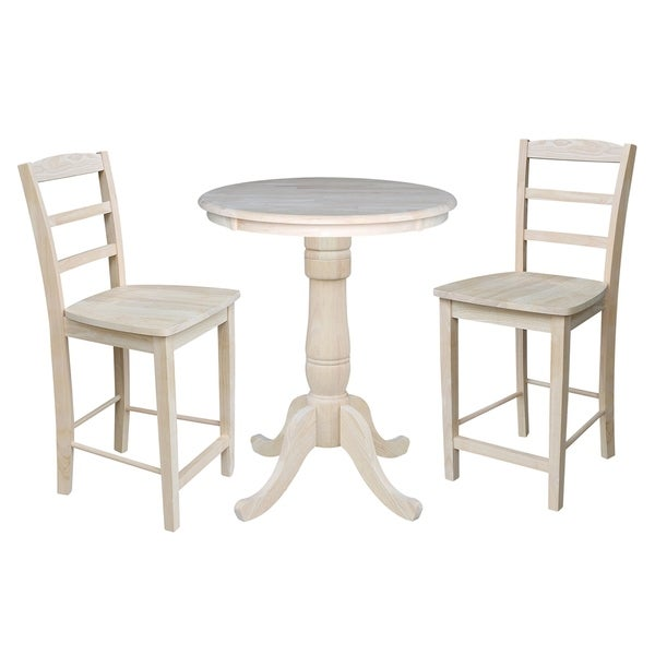 30 Round Pedestal Counter Height Table With 2 Madrid Stools Unfinished 3 Piece