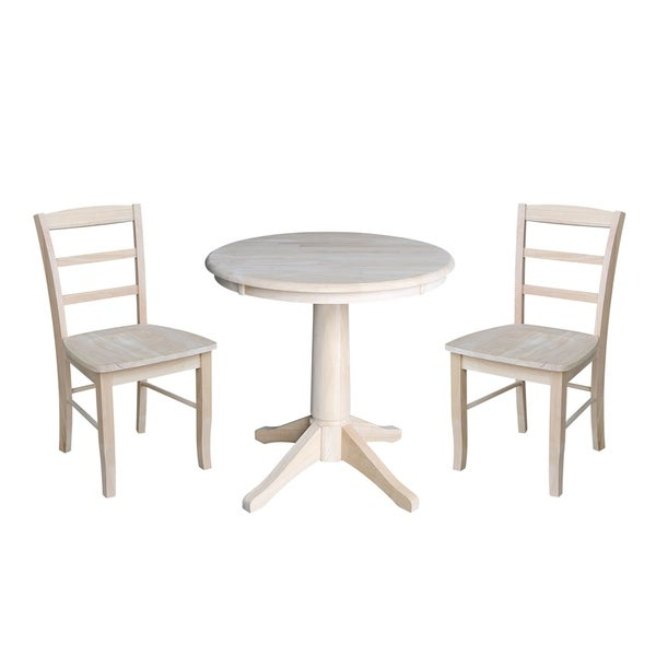30 Round Pedestal Dining Table With 2 Madrid Chairs Unfinished 3 Piece Set Free Shipping Today 21800798