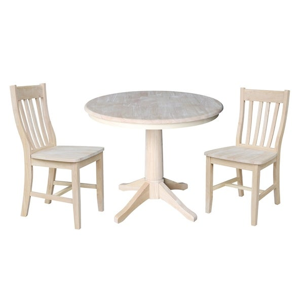 36 Round Pedestal Dining Table With 2 Cafe Chairs Unfinished 3 Piece Set
