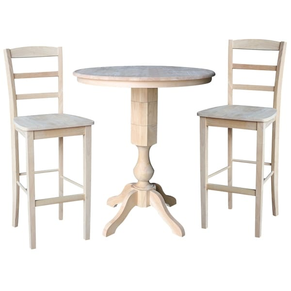 Wondrous 36 Round Top Pedestal Bar Height Table With 2 Madrid Stools Unfinished 3 Piece Set Home Interior And Landscaping Ferensignezvosmurscom