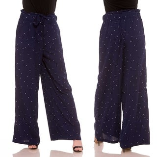 Ladies Polka Dot Printed Belted Linen Pants with Pockets (More options available)