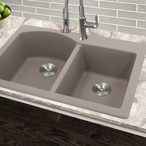 Highpoint Collection 60/40 Topmount Granite Composite Truffle Sink