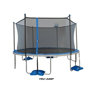 TruJump 14-Feet Trampoline with Tru-Steel Enclosure and AirDunk Basketball System