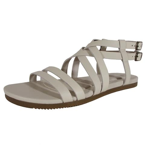 Teva Womens Avalina Crossover Leather Flat Sandal Shoes White