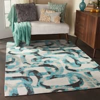 Studio NYC Design River Bed Midnight Teal Area Rug - 5' x 7'