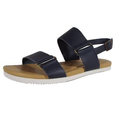 Teva Womens Avalina Flat Leather Backstrap Sandal Shoes Navy