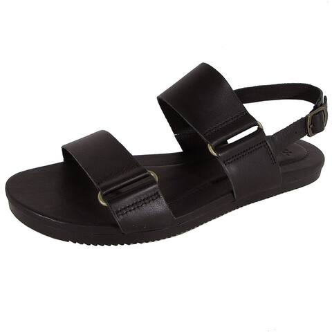 Teva Womens Avalina Flat Leather Backstrap Sandal Shoes Black