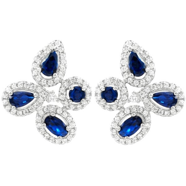 c2bd0cf7b Luxiro Sterling Silver Lab-created Blue Spinel with Cubic Zirconia Flower  Post Clip Earring