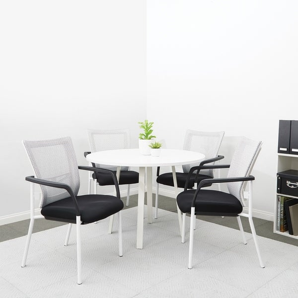 ProGrid® Mesh Back with Padded Black Fabric Seat Visitors Chair with Arms and White Finish Frame