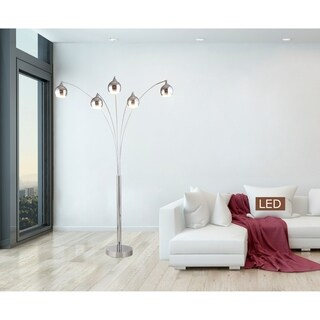 """Artiva AMORE 86"""" Chrome Arched LED Floor Lamp w/Dimmer 5000 Lumens"""