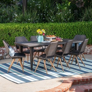 Calayan Outdoor 9 Piece Wicker Dining Set by Christopher Knight Home