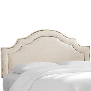 Skyline Furniture Nail Button Arched Headboard in Linen