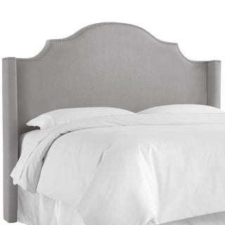 Skyline Furniture Nail Button Notched Wingback Headboard in Linen