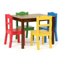Discover 5-Piece Wood Kids Table & Chairs Set in Dark Walnut/Primary