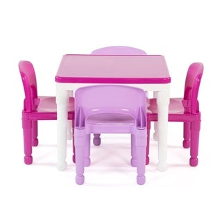 Playtime 5-Piece Plastic Kids Squarev Lego Compatible Activity Table & Chairs Set, White/Pink