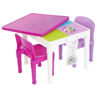 Tot Tutors White/Purple & Pink Kids 2-in-1 Lego-compatible Activity Table & 2 Chairs, Playtime Collection