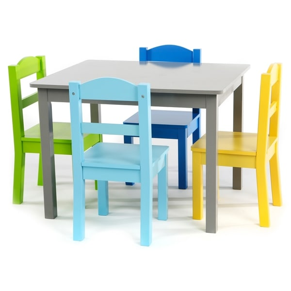 Elements 5-Piece Wood Kids Table \u0026&; Chairs Set in Grey/Multi  sc 1 st  Overstock & Elements 5-Piece Wood Kids Table \u0026 Chairs Set in Grey/Multi - Free ...