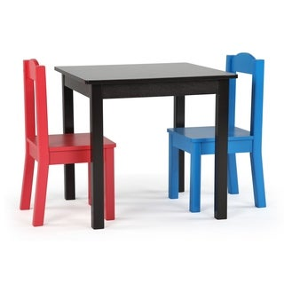Pierce Collection 3-Piece Wood Kids Square Table & Chairs Set, Espresso/Multi