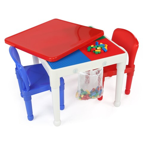 Tot Tutors White/Primary Kids 2-in-1 Lego-compatible Activity Table & 2 Chairs, Playtime Collection