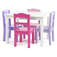 Forever 5-Piece Wood Kids Table & Chairs Set in White/Purple&Pink